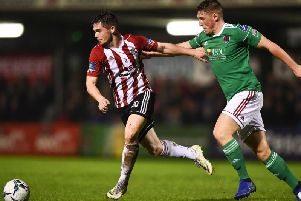 Michael McCrudden pictured in action against Cork City last Friday night has been ruled out for three months with a broken foot.