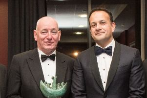 The Taoiseach Leo Varadkar witrh Mark Durkan during the St. Columb's College Union annual dinnerback in October 2018.