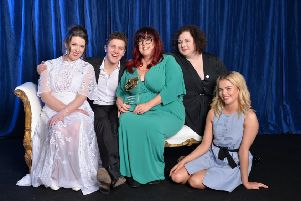 Lisa McGee with Liz Lewin, Executive Producer and cast members Dylan Llewellyn (James), Siobhan McSweeney (Sister Michael) and Saoirse-Monica Jackson (Erin.)