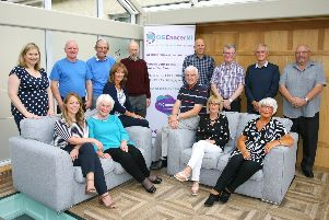 Members of the OG Cancer NI group, including current Chair Helen Setterfield. The NI based patient and carer support group provides an opportunity for those affected by Oseophageal and Stomagh cancer to meet others in a similar situation.