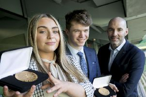 Pictured are from left, Kayla Canning from Derry and David Giles from Cork with Richie Sadlier, Guest Speaker at the Pramerica Spirit of Community Awards. Kayla and David were the two outstanding youth volunteers that have been named winners of the 2019 Pramerica Spirit of Community Awards, the only All-Ireland youth initiative of its kind, for their commitment to volunteer service in their local communities. Photo Chris Bellew / Fennells
