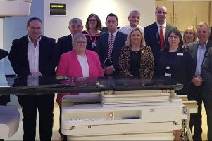 Members of the Assembly's All Party Group on Cancer with staff at the North West Cancer Centre this week.