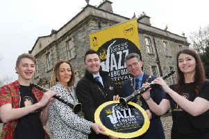 City of Derry Jazz and Big Band Festival 2019 launch.Mayor of Derry City and Strabane District, Councillor John Boyle, Event Co-Ordinator with Council, Andrea Campbell, Stephen Thompson from Diageo, Lewis Hamlon and Ciara McErlean from Magee University Jazz Big Band.