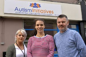 Lauren Watson, Co-worker, Autism Initiatives, Sarah Mullan, service user and Thomas Carlin, manager Autism Initiatives. DER1419GS-013