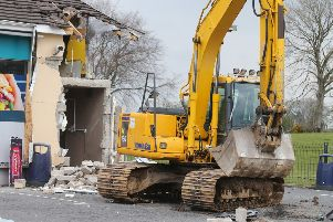 Press Eye - Belfast - Northern Ireland - 7th April 2019''The scene at O'Kane's filling station outside Dungiven, Co. Derry, where an ATM was stolen with the aid of a digger in the early hours of Sunday morning. ''Picture by Jonathan Porter/PressEye