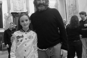 Foyle Speech and Drama and Ebrington P.S. student Alemia Doherty with renowned Irish actor John Lynch in Rome.