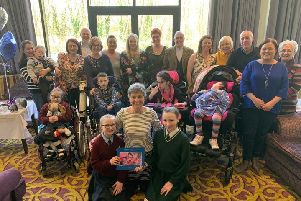 Dr Heather McCluggage pictured with some of her former patients and their carers at a special afternoon tea in the Everglades Hotel to mark her retiremen after two decades as paediatric palliative care consultant