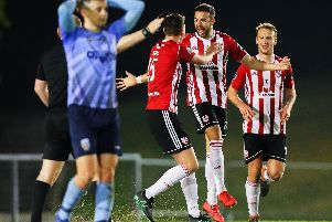 Derry City's Darren Cole celebrates scoring against UCD.