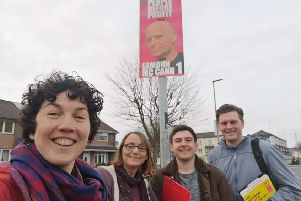 Maeve O'Neill on the doorsteps with fellow People Before Profit activists.