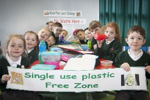 """Some of the pupils that took part in Wednesday�""""s ��Waste Free Lunch Day�"""" at Greenhaw Primary School. The pupils brought lunches to school that were not wrapped in foil, plastic or commercial packaging and no disposable plastic bottles or cartons of juice. (Photos: jim McCafferty Photography)"""