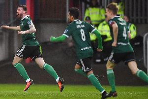 Derry City's Patrick McClean runs away celebrating after scoring the opening goal against St Patrick's Athletic.