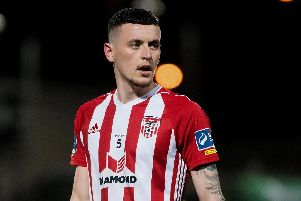 David Parkhouse fired home Derry City's opener at Waterford on Monday.