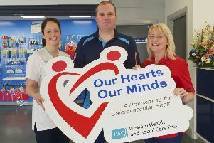 Launching Our Hearts Our Minds programme at Templemore Sports Complex, Derry from left to right: Margaret Taggart, Western Trust Cardiovascular Nurse Specialist; Annette Henderson, Western Trust Specialist Physiotherapist and John Paul Glenn, Manager Templemore Sports Complex.