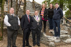 From left, Dr Brian Solan, Dr Rodney McDermott, Dr Robert Eadie, Sandra Orr, and final year engineering students at Ulster University Emma Donaghy and Kevin Conway.