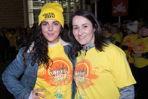 Edel O'Donnell, organiser, with Derry Girls actress Jamie Lee O'Donnell who took part in the Darkness Into Light walk at dawn in Derry  in 2018.