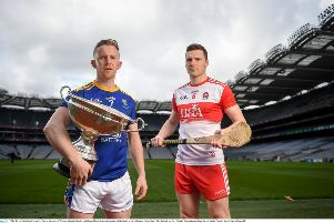 Wicklow's Warren Kavanagh (left) and Derry's Brian Og McGilligan at the official launch the Christy Ring Cup at Croke Park on Thirsday. (Photo by David Fitzgerald/Sportsfile)
