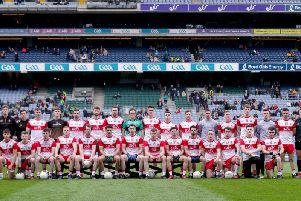 The Derry panel that line out in the Division Four final against Leitrim in Croke Park.