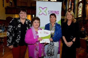 Kate Beggs, NI Director of the National Lottery Community Fund, Veronica Mohamat and Kate O'Reilly, service users , and Fiona McCandless, DAERA Deputy Secretary, pictured at the recent official launch of the Brandywell and Bogside Health Forum's  SPRING Social Prescribing Project held in the Guildhall. DER1919GS-008