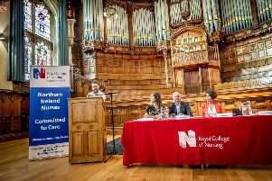 Andrew Doherty, RCN board member, addressing the crowd in the Guildhall.