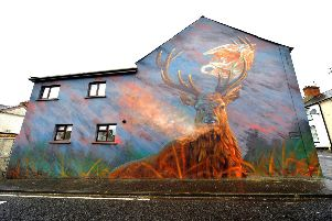 DEER GOD! The 'Stag with the Bag' mural is located at the junction of Glenview Avenue and Glasgow Terrace in Rosemount. DER2019GS-066