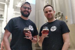 Walled City Brewery Brewmaster James Huey pictured with apprentice brewer Joshua Kyle at the acclaimed Tornion Panimo brewery in Finland.
