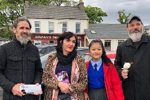 Tracy pictured on the campaign trail with MEP Luke 'Ming' Flanagan and her family.