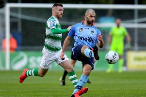 UCD striker, Conor Davis in action against Shamrock Rovers.