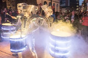 International drummers Spark! make their way through Derry city centre markets on last year during the annual Hallowe'en Festival. Picture Martin McKeown. Inpresspics.com 28.10.18