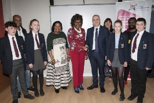 """NOW LET�""""S TALK . . . . .Mr. Michael Allen, Principal, Lisneal College welcoming Lilian Seenoi-Barr, Programme Director, North West Migrants Forum to the school on Monday morning. Lisneal is the first of a number of local schools to take part in the ��Now Let�""""s Talk�"""" Cultural Diversity programme which is funded by DCSDC and Peave IV. Included from left are Lawson McKeown, Joseph Akinyemi, Mollie Barnett, Nandi Jola, Lauren Nash, Sally Neely, Cuthy Daimond and Jamie Sheriffs. (Photos: Jim McCafferty Photography)"""