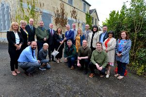 Group pictured at the commencement of the refurbishment of Victoria Hall, Culmore Point, as a multi-service community centre and hub. Included in the picture is Edward Montgomery, from The Honourable The Irish Society, owners of the property, Cathal Crumley, Secretary, Culmore Community Partnership, Colr Michaela Boyle, Mayor of Derry and Strabane, Neil Doherty, Chairperson, Culmore Community Partnership, contractors, representatives of Derry and Strabane Rural Partnership and local councillors. DER2519GS-005