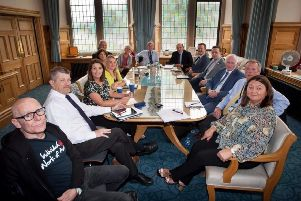 Mayor Michaela Boyle (front right) with representatives from Sinn Fein, the SDLP, UUP, DUP, People Before Profit, Ulster University and other stakeholders at the meeting in the Guildhall last week.