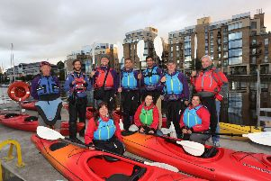 Leading international travel journalists enjoyed kayaking on the River Foyle as part of a fact-finding trip to Northern Ireland. They are pictured on the river with Far and Wild kayak instructors Shayne McClure (left) and Darren Thompson (right).  ''Pics by Lorcan Doherty