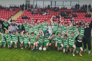 St. Mary's Faughanvale celebrate their county victory which has set them up for this weekend's historic trip to Mayo.