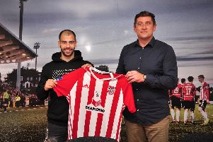 Derry City's new signing Conor Davis with manager Declan Devine. Picture by Kevin Morrison