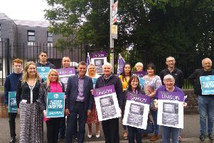 Sinn Fein and SDLP representatives protesting with Unite trade union and Pensioners' Parliament representatives outside Radio Foyle last week.