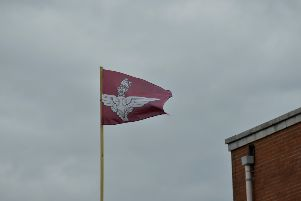 A British Parachute Regiment flag flying from a pole several years ago in Derry's Waterside. DER2816GS053