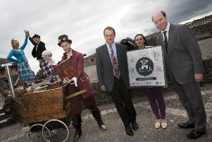 Group pictured recently on the City's Walls for the launch of 'The Walled City' Animation Programme, including Fiona Lafferty, Project Officer, Derry City and Strabane District Council, Iain Greenway, Director of the Historic Environment Department, Edward Montgomery, The Honourable The Irish Society and Michael Johnson In Your Space. Also included are dancers from the Sollus Highland Dancing group.
