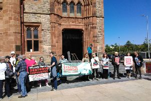 Climate action protesters outside the Guildhall during the recent meeting wqhere two motions were tabled by Colr. McCann and Colr. Durkan.