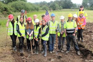 The whole team involved in the dig to recover parts of a P38 lightening which crashed in co.Monaghan in 1942. The team included local aviation historial Jonny McNee, pupils from Foyle College and a school in Monaghan.