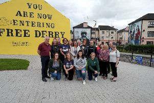 Group pictured at Free Derry Wall yesterday afternoon at the Gasyard Feile's programme of events commemorating the 50th anniversary of the Battle of the Bogside.  Included in the photograph are Raymond McCartney MLA, Paddy Danagher, Streets Alive co-ordinator, Mayor of Derry City and Strabane Colr Michaela Boyle , Colr Eamon McCann, Colr Patricia Logue  and Karen Mullen MLA. DER3119GS-02