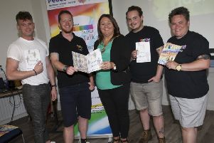 """GENDER IDENTITY. . . . The Mayor of Derry City and Strabane District Council, Michaela Boyle pictured at the launch of the ��Let�""""s Talk Gender Identity�"""" event at St. Columb�""""s Park House, Derry on Thursday morning last. Included from left, Nat Creighton, Rainbow, Darragh Graham, SCPH (Peace in the Park), Paul Brennan, Ren McGuicken, Nuala Devenny, Rainbow, Caitriona Doherty, DCSDC and Sharon Doherty, SCPH."""