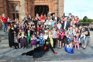 Mayor Michaela Boyle launches world famous Derry Halloween celebrations' from local characters and representatives from Derry City & Strabane District CouncilTourism NI and Verbal Arts Reading Rooms. (Photo Lorcan Doherty)