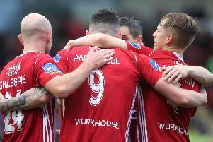ALL TOGETHER NOW . . .  Derry City are one of the form teams in the country at present and look favourites to clinch the third Europa League spot for 2020.