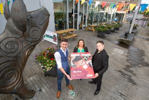 Derry City and Strabane District Council Mayor Michaela Boyle is joined at the launch of The Alley Events Guide, Autumn / Winter 2019 alongside singers Chrissy Mac and JP McCauley