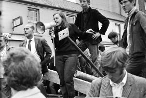 Bernadette McAliskey (nee Devlin) pictured here during the Battle of the Bogside in Derry in 1969.