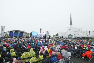 Crowds waiting for Pope Francis during a visit to Knock Holy Shrine last year, as part of his visit to Ireland. (Niall Carson/PA Wire)
