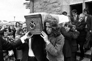Mourners at Seamus Bradley's funeral in 1972.