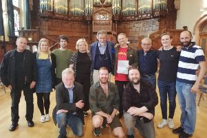 The cast of 'The Freedom of the City.' Conor is third from back, left and Stephen is front, centre.