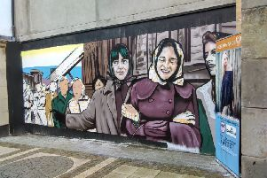 The Derry Factory Girls mural commissioned by the Inner City Trust.