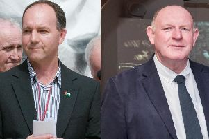 Left, Tony Doherty, Chair of the Bloody Sunday Trust, and right, Billy Moore, General Secretary of the ABOD.